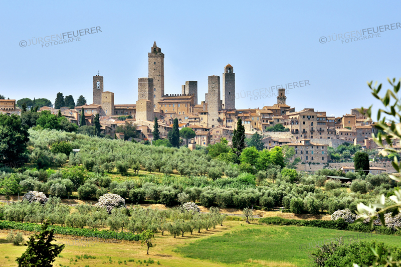 Skyline of San Gimignano, town and tower house of the middle ages, Tuscany, Tuscany, Italy, province Siena
