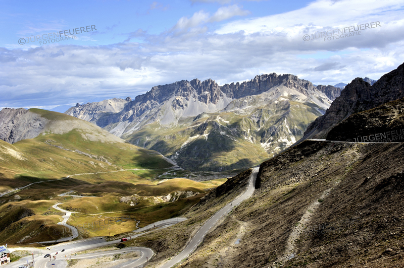 Pass Galibier, station of cyclists and Tour de France, panorama view, French Alps, France