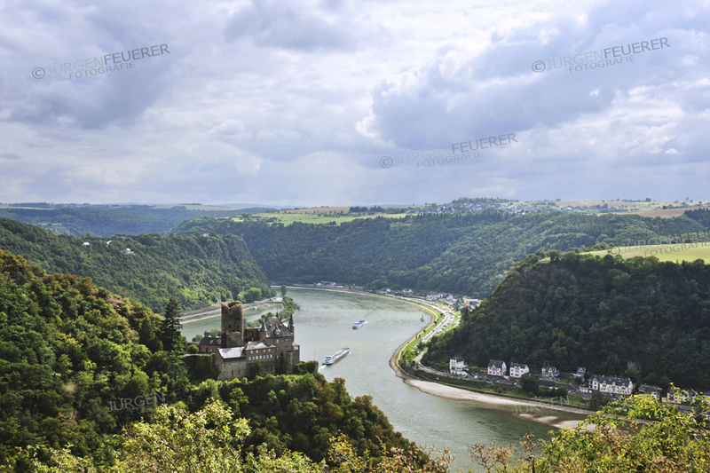 Castle Katz at the Rhine, view of to the rocks of Lorelei, panoramic view of the valley and surrounding mountains