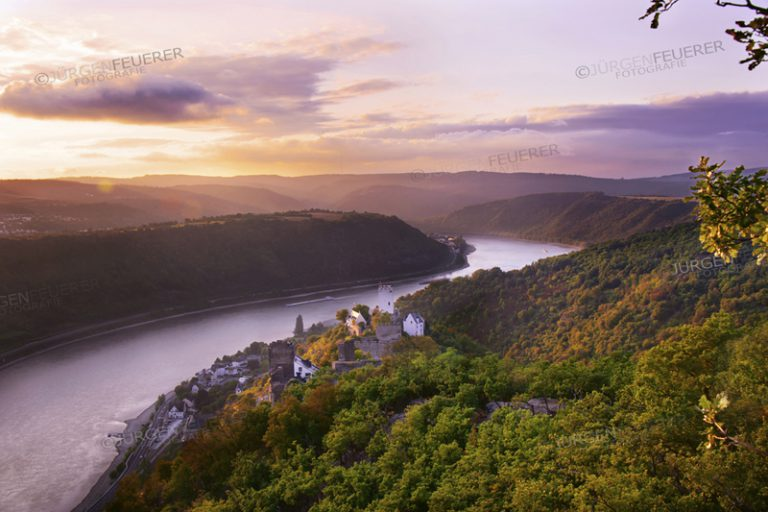 Panoramic view of the Rhine with Castle Sterrenberg and Liebenstein Castle at Sunset, both togehter called Feindliche Brueder, Upper Middle Rhine Valley, Germany