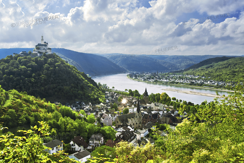 Castle Marksburg, the town Braubach and the Rhine Gorge, Upper Middle Rhine Valley, Germany