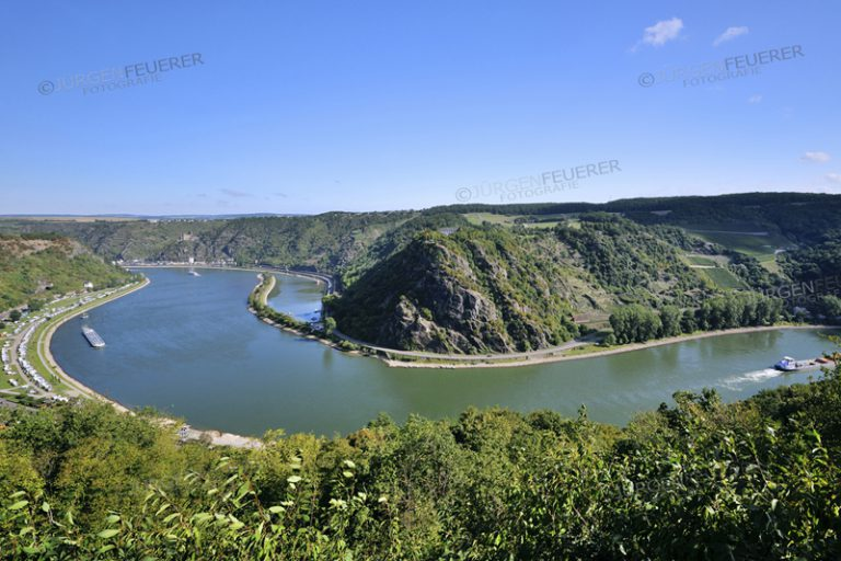 Curvation of the Rhine at the rocks of Lorelei, panorama sight from Lorelei View, Upper Middle Rhine Valley, Germany