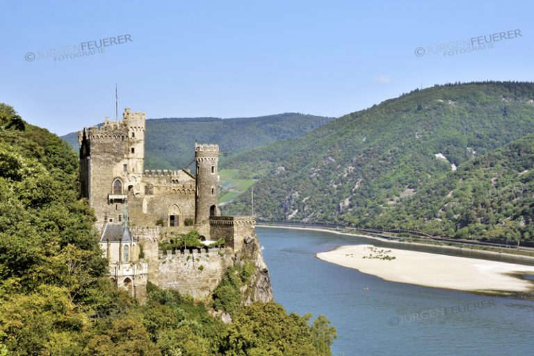 Rheinstein Castle above the Rhine near the town of Trechtingshausen, Upper Middle Rhine Valley, Germany