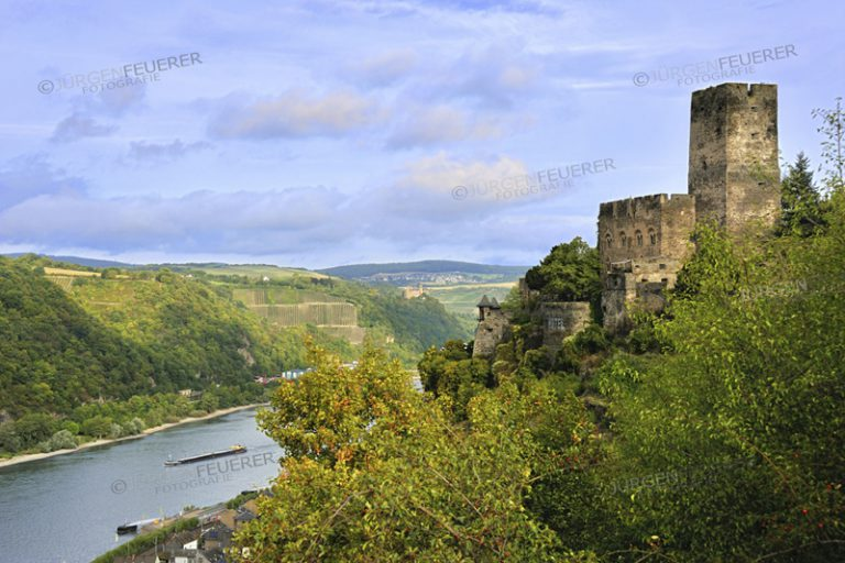 the Gutenfels Castle, also Caub Castle, above the Rhine and town Kaub, Upper Middle Rhine Valley, Germany